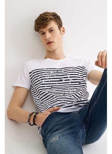 Avva Erkek  Bisiklet Yaka Baskılı Tişört A01S1261 Beyaz
